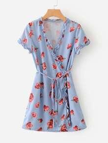 Frill Trim Florals Wrap Dress
