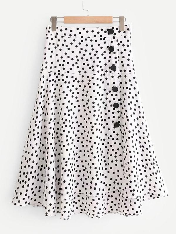 Купить Деталь Пятновая юбка, null, SheIn