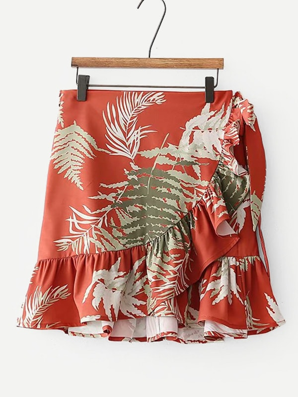 Купить Лифтовая печать Ruffle Hem Overlap Skirt, null, SheIn