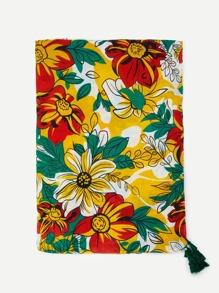 Flower Print Tassel Detail Scarf