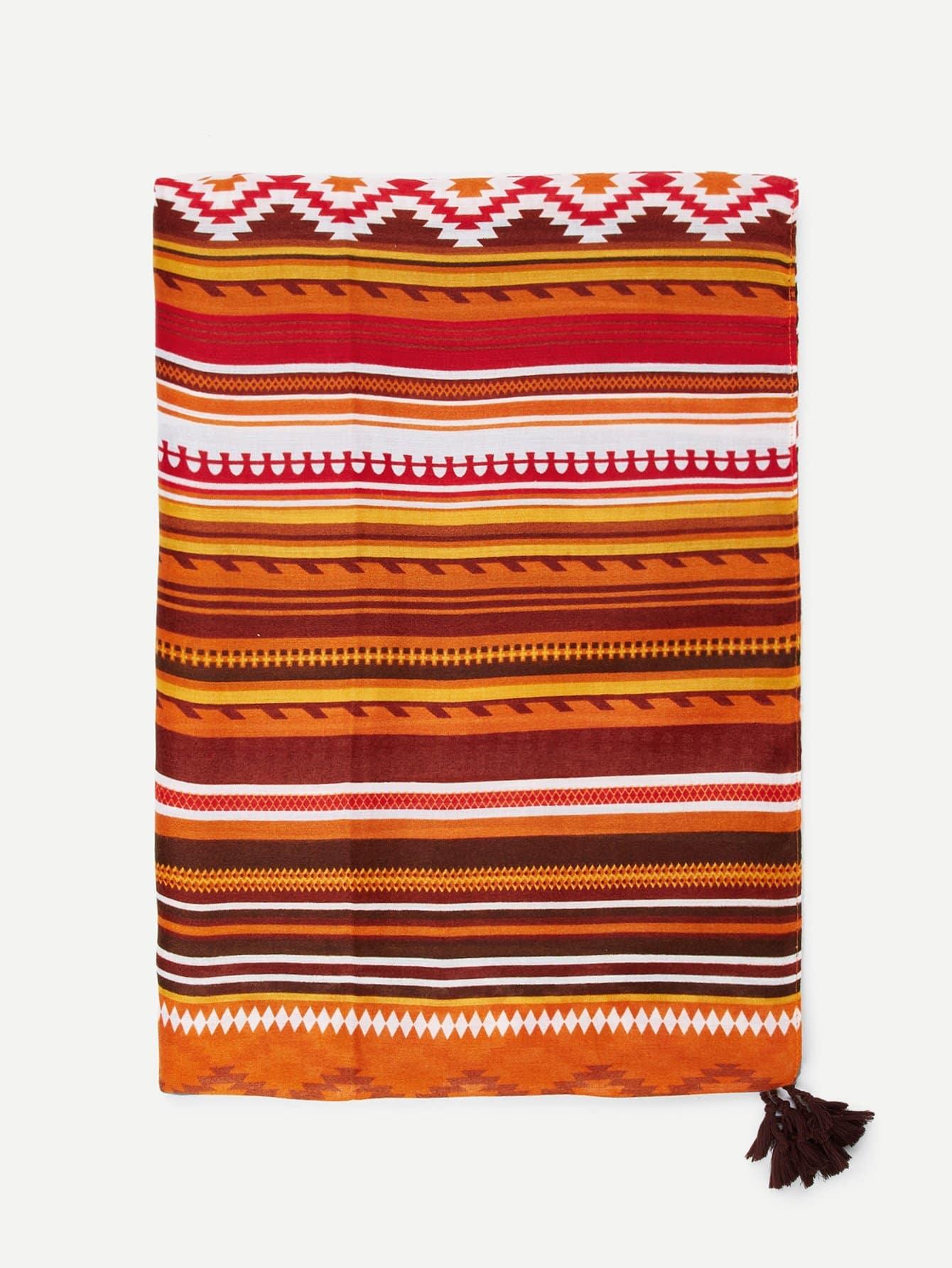 Tassel Detail Striped Scarf tassel detail striped swimsuit