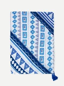 Geometric Print Tassel Detail Scarf