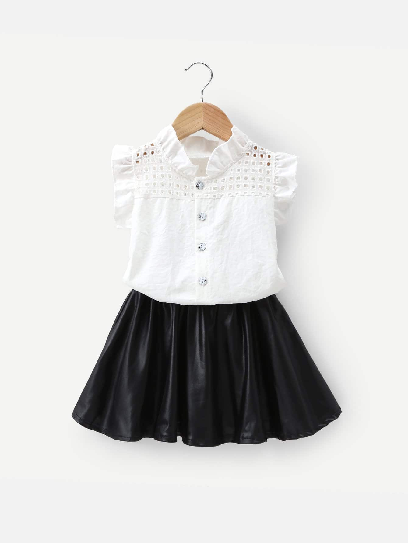 Kids Frill Eyelet Embroidered Blouse With Skirt frill trim blouse with denim skirt