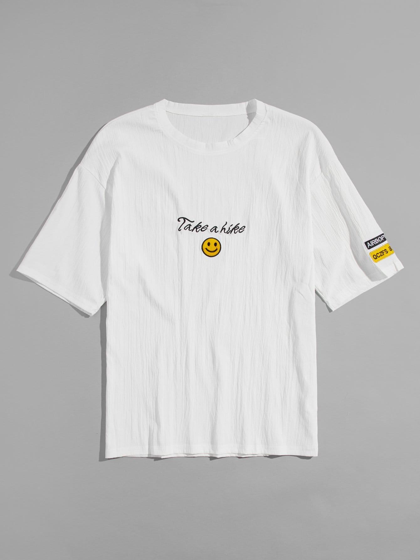 Купить Мужская футболка Smile Embroidery, null, SheIn