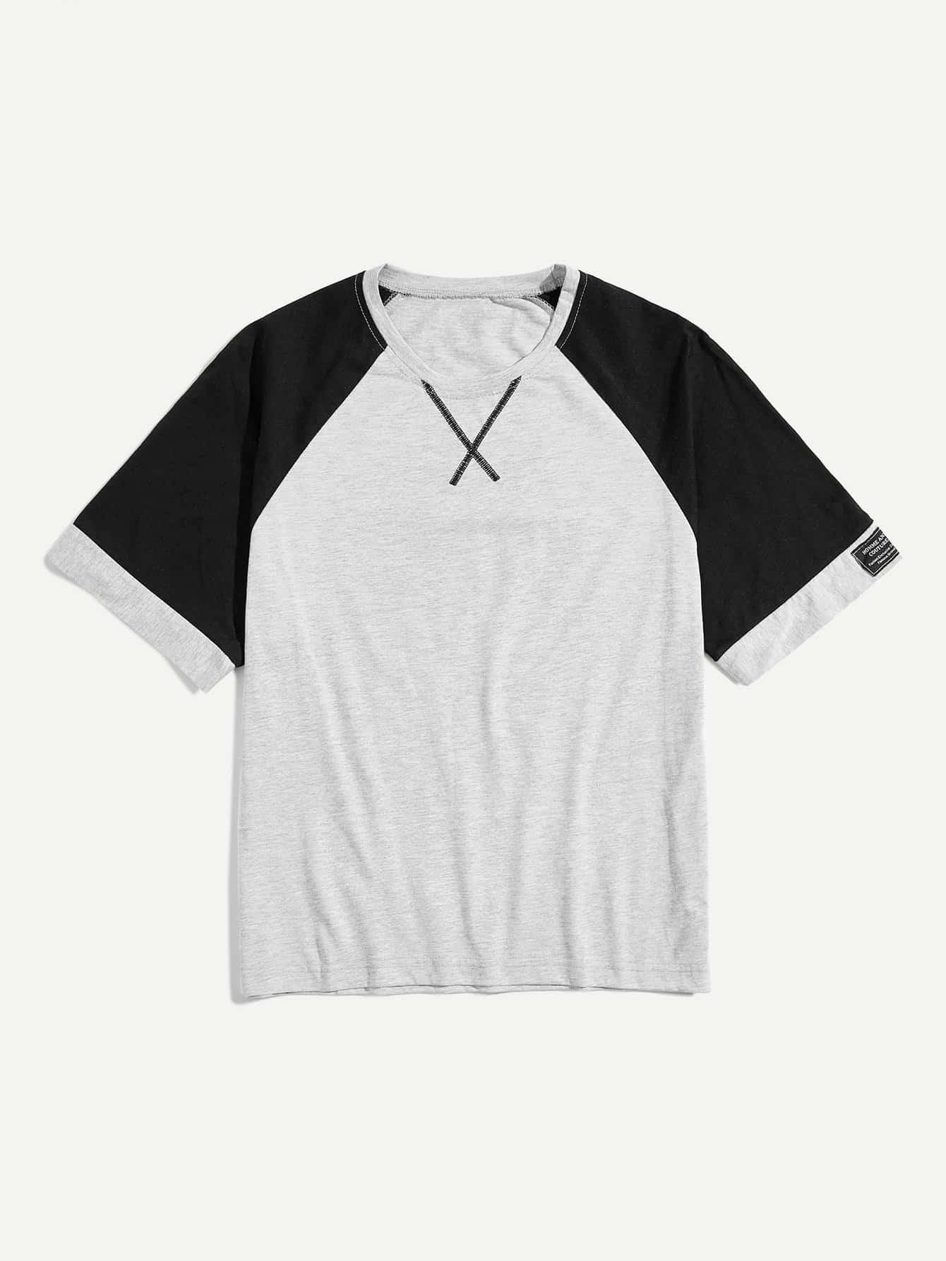 Купить Мужская вышивка Деталь Цветная футболка, null, SheIn