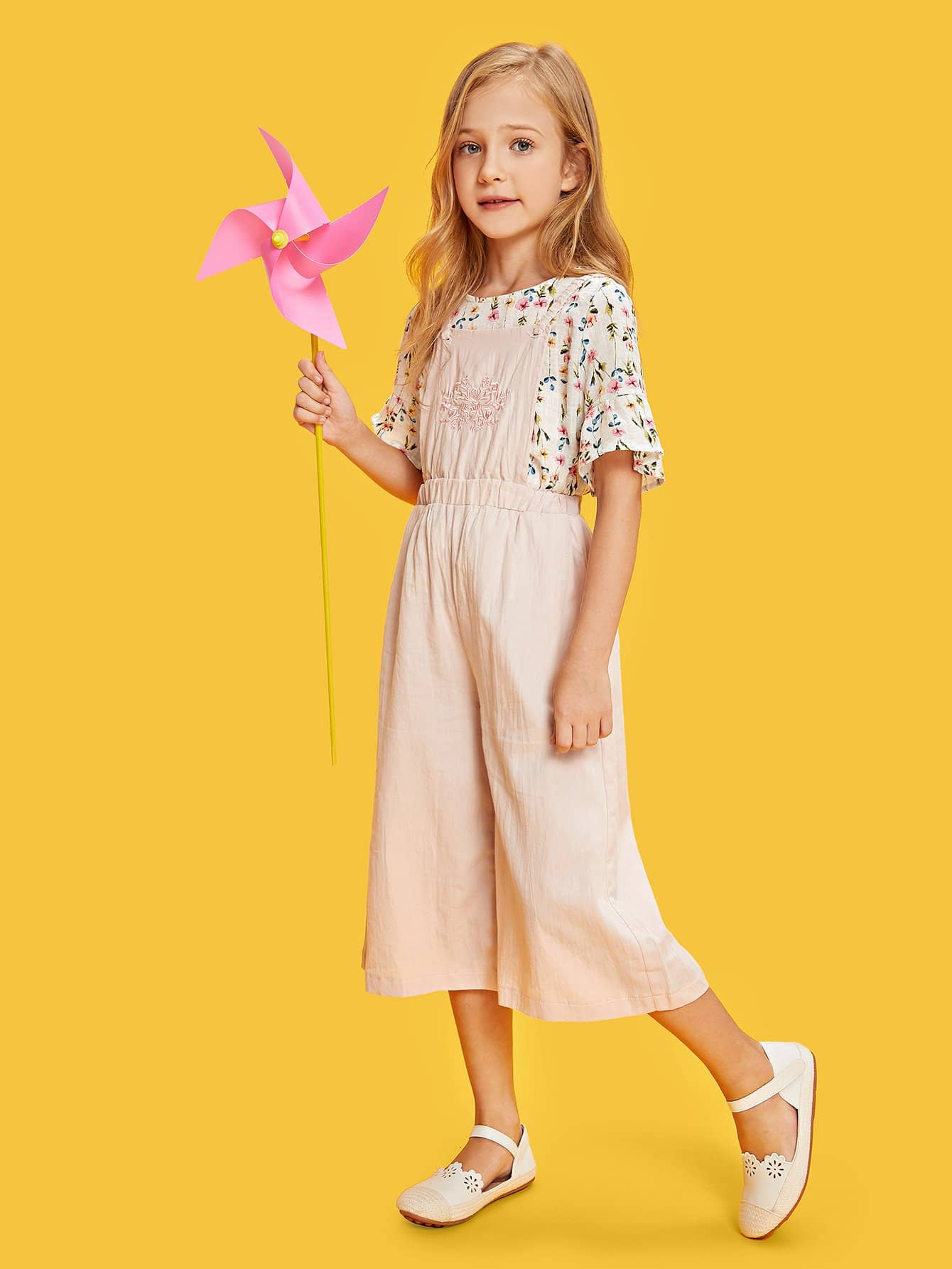 Girls Flower Embroidered Wide Leg Jumpsuit цены