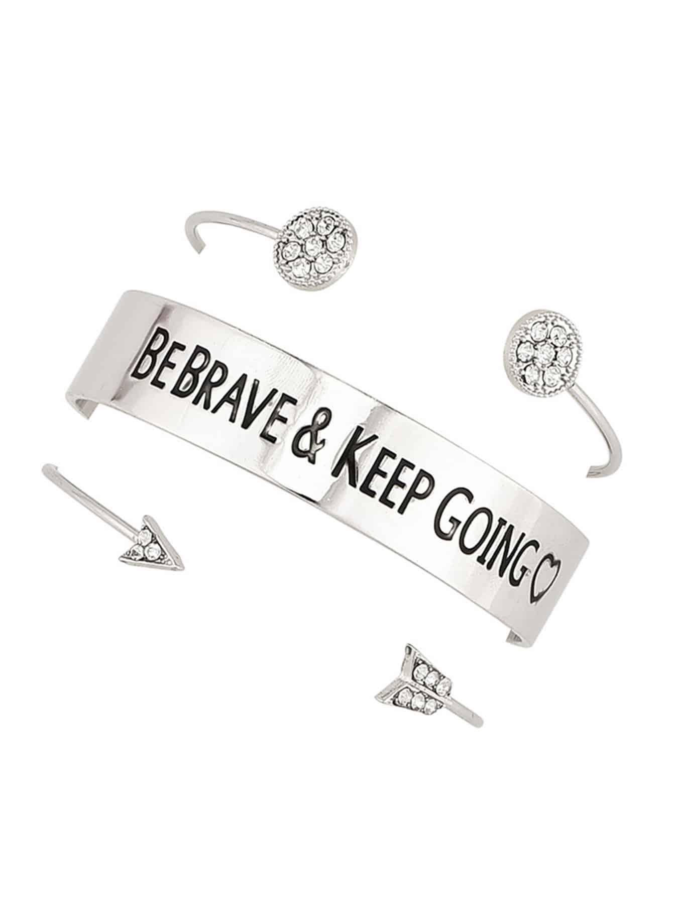 Letter Detail Cuff Bracelet Set 3pcs