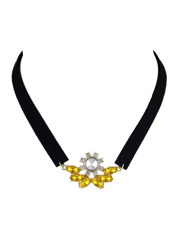 Yellow Rhinestone Black Choker Necklaces