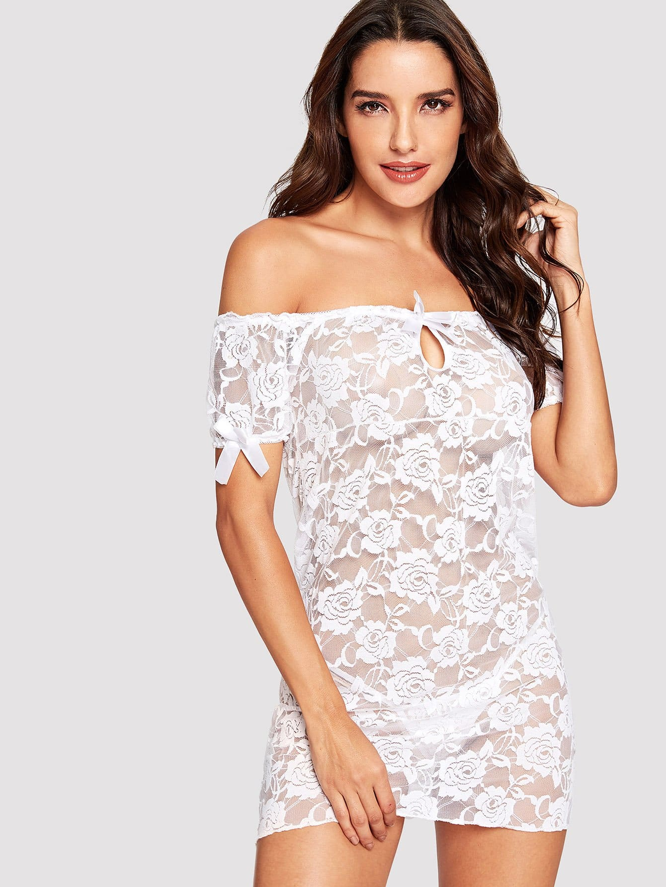 Off The Shoulder Floral Lace Dress With Thong lace off shoulder dress