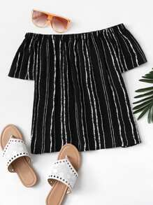 Off The Shoulder Striped Top SHEIN