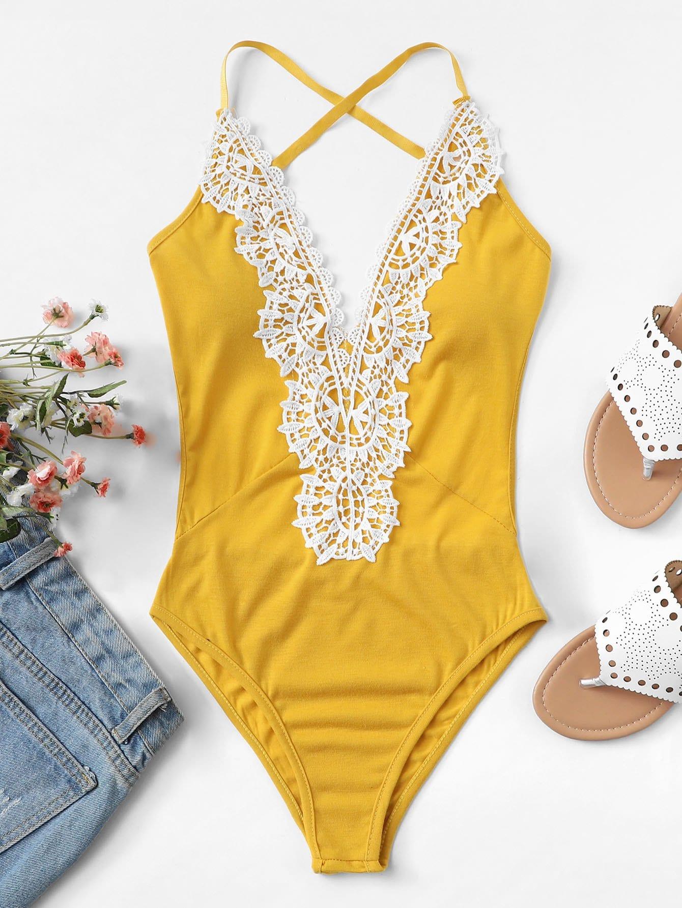 Contrast Crochet Lace Cross Back Bodysuit