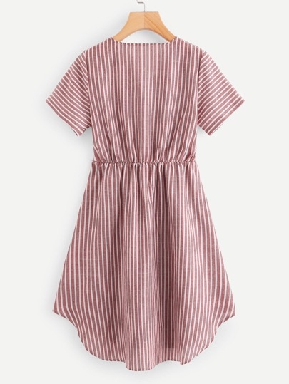Romwe / V Neckline Striped Wrap Dress