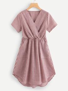V Neckline Striped Wrap Dress