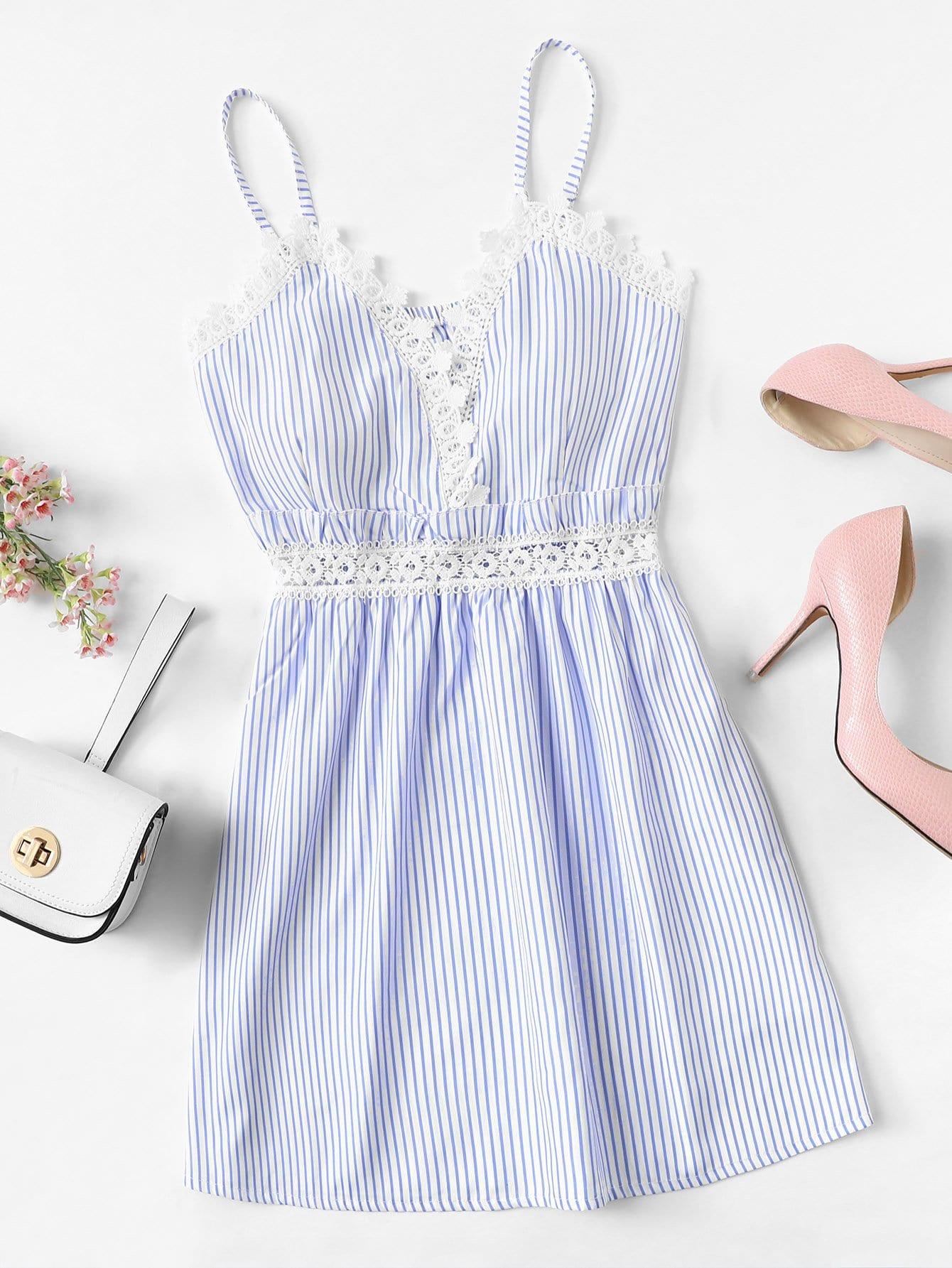 Lace Trim Striped Cami Dress