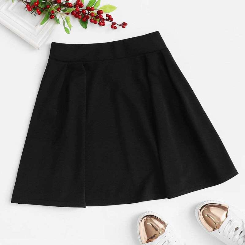 Pleated A Line Skirt, Black