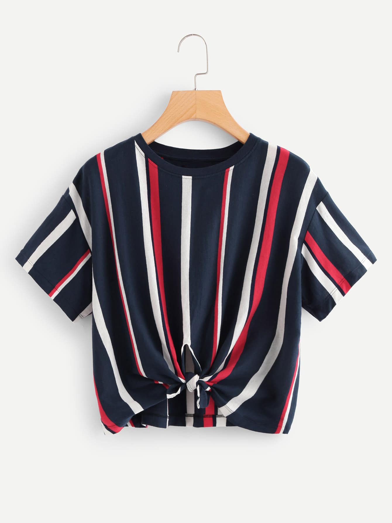 Striped Cut Out Knot Tee