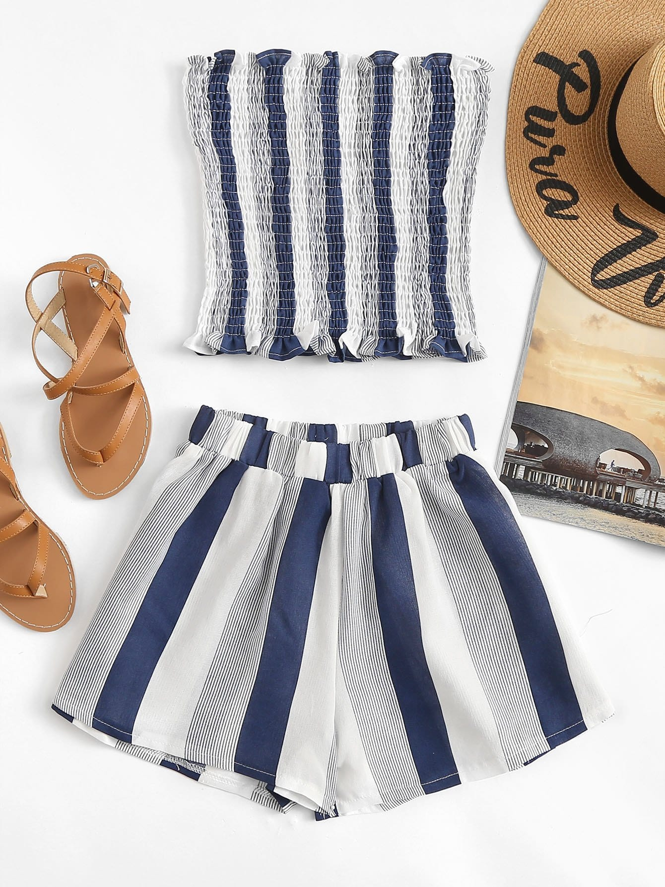 Striped Frill Pleated Two-piece Outfit
