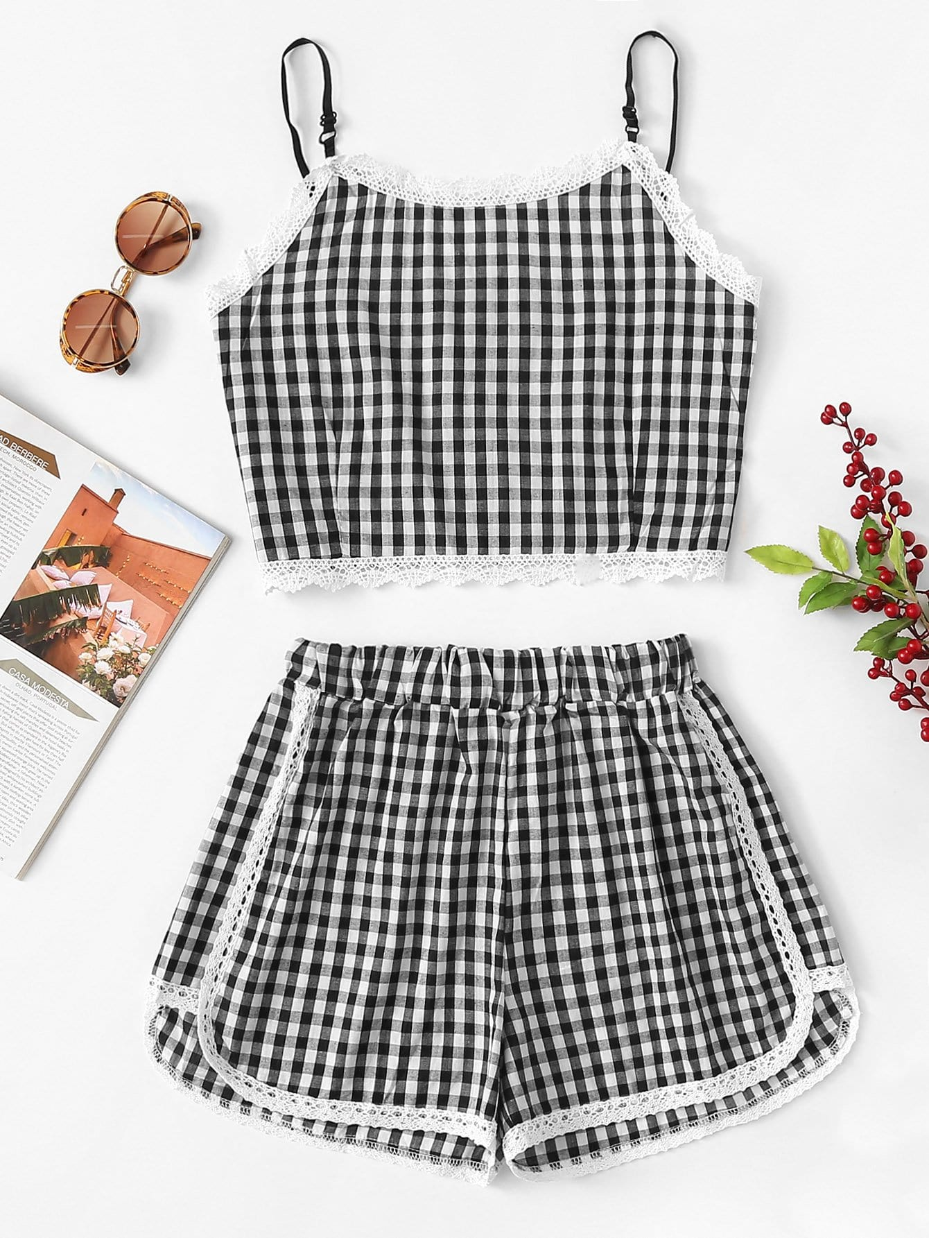 Lace Trim Checked Cami Top With Shorts