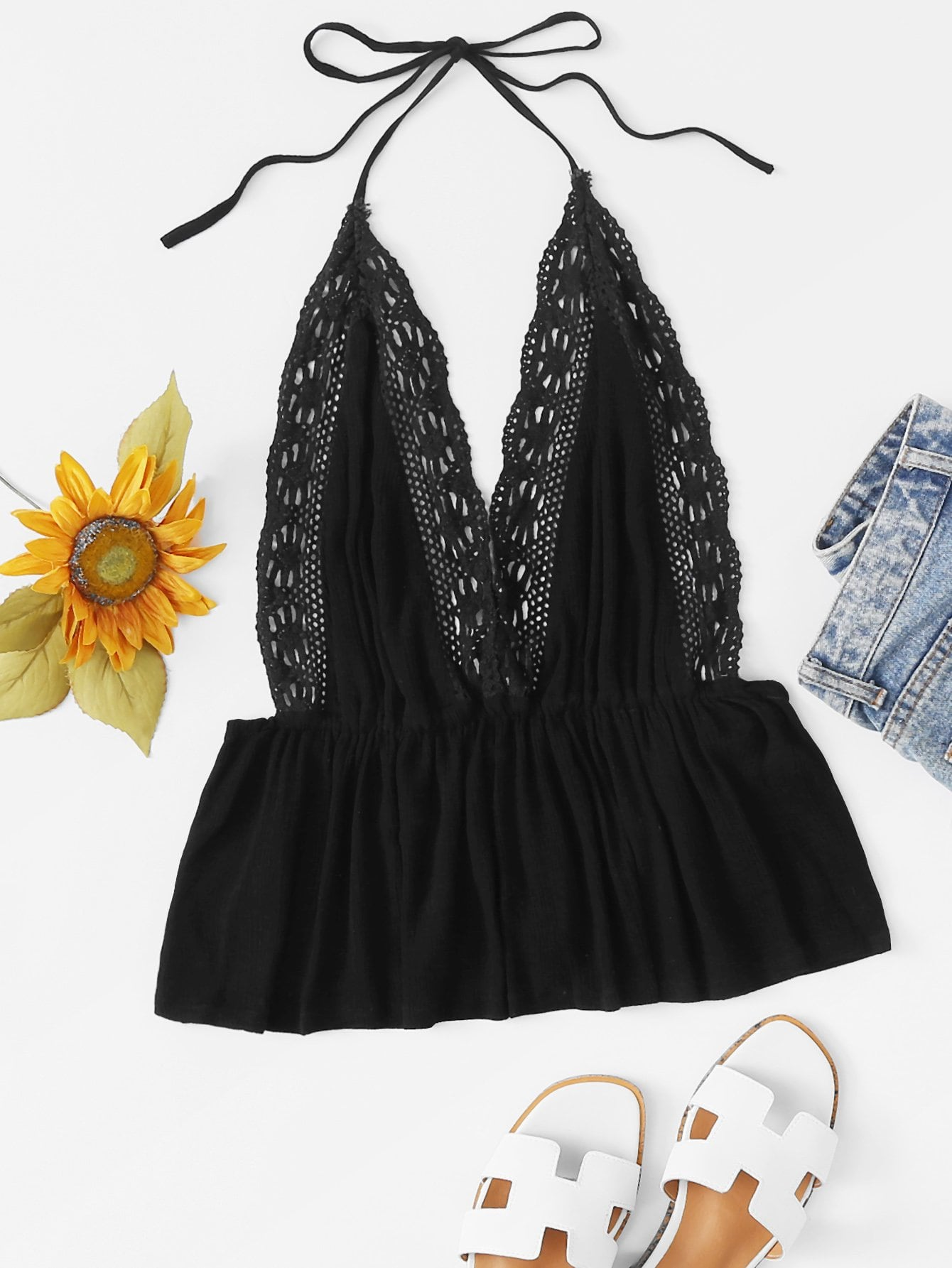 Spaghetti Strap Knot Contrast Lace Top