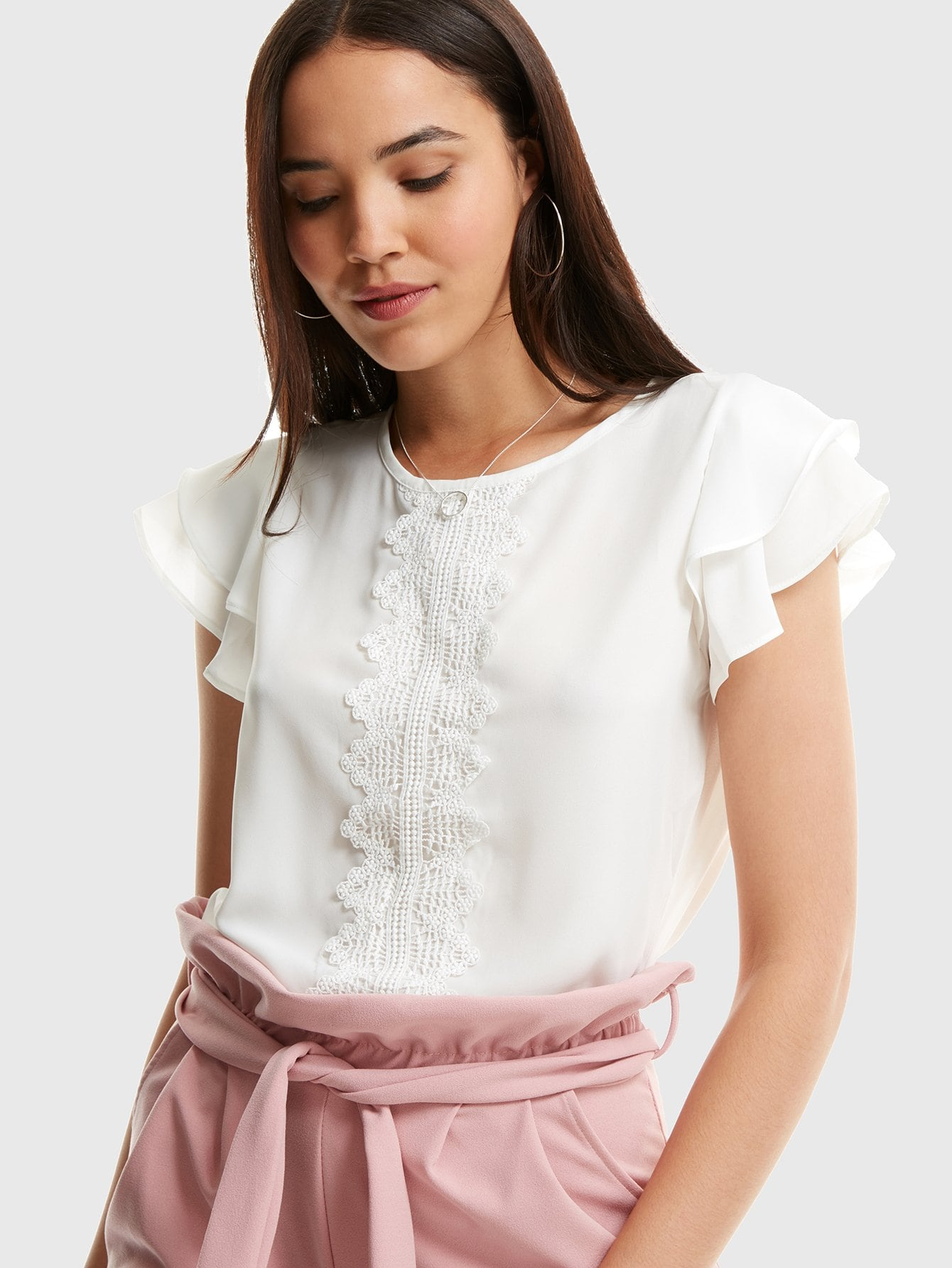 Guipure Lace Detail Flutter Sleeve Top