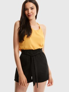 Frill Trim Self Belted Shorts