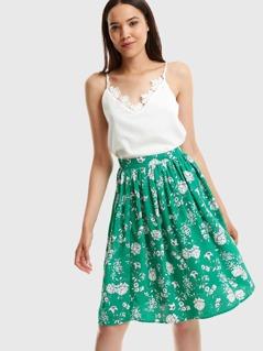 Side Slit Floral Midi Skirt