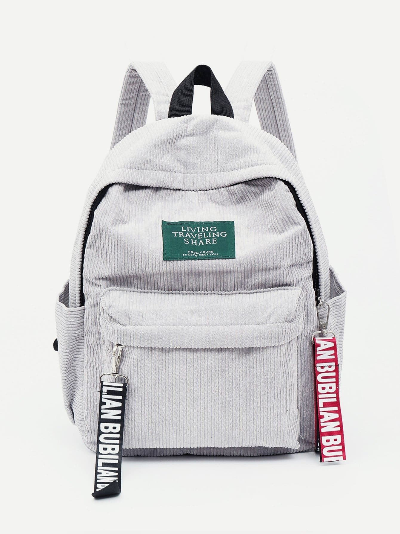 Slogan Ribbon Corduroy Backpack han edition of the new joker food corduroy corduroy backpack male and female college students bag contracted wind backpack