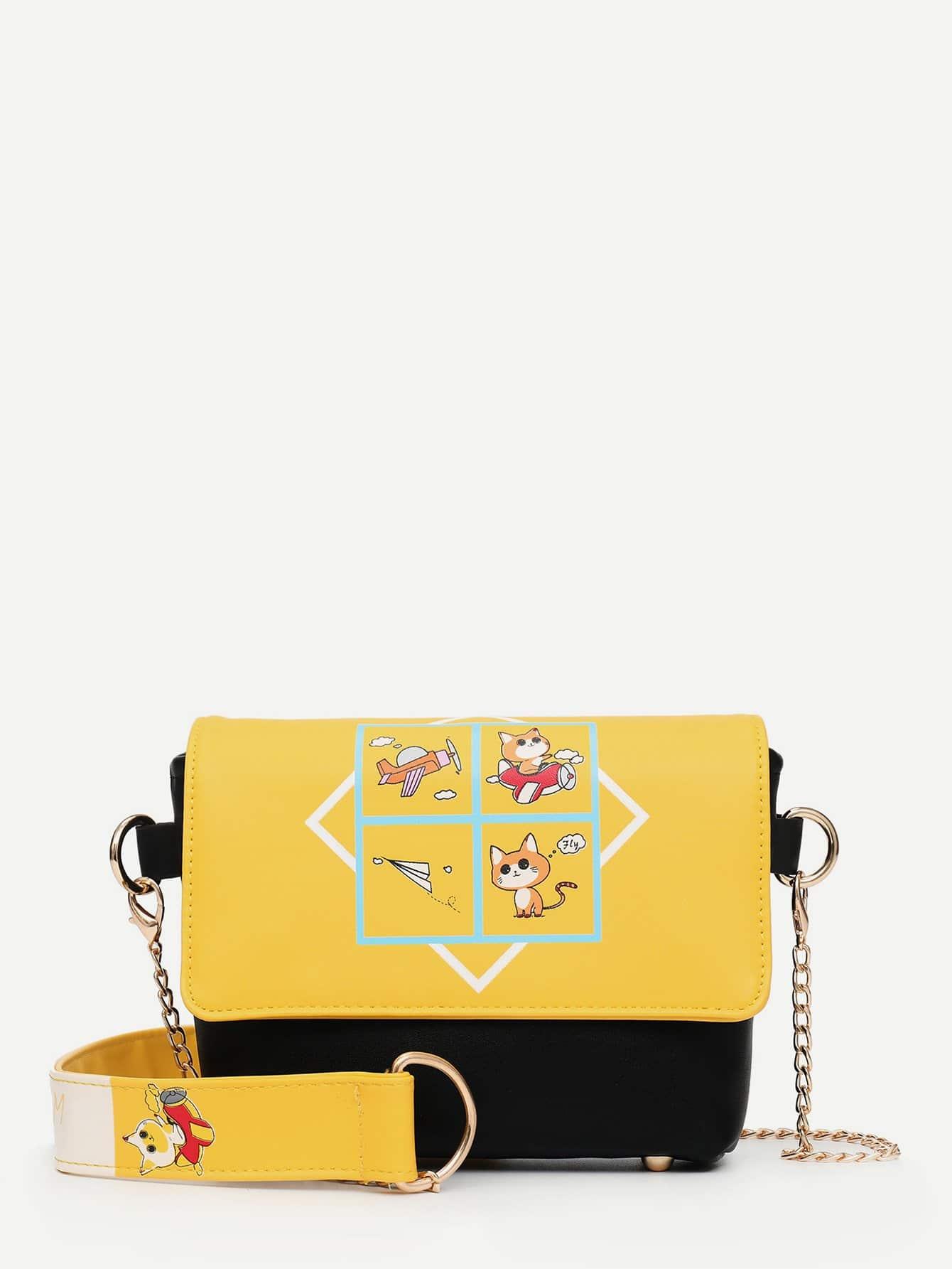 Two Tone Detail Cartoon Print Chain Bag two tone detail buckle chain bag