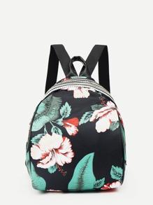 Flower Print Decor Backpack