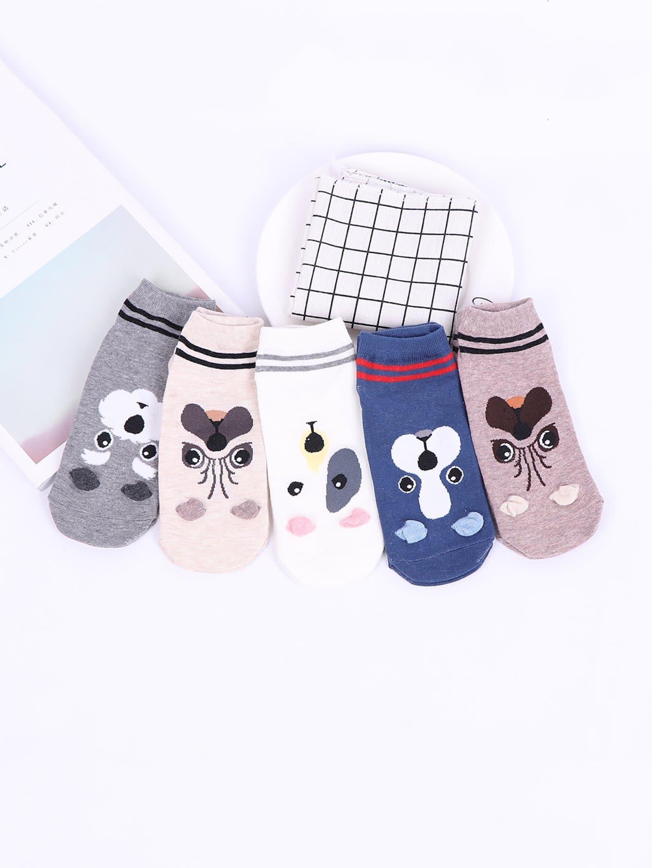 Socken mit Hundmuster 5 Paare