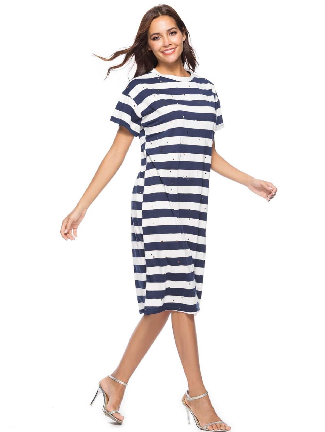 Wide Striped Ripped Dress wide striped ripped dress