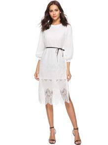 Contrast Lace Tie Waist Dress