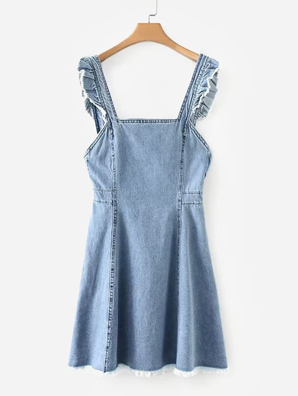 Купить Фальшивое оборванное платье из джинсовой ткани, null, SheIn