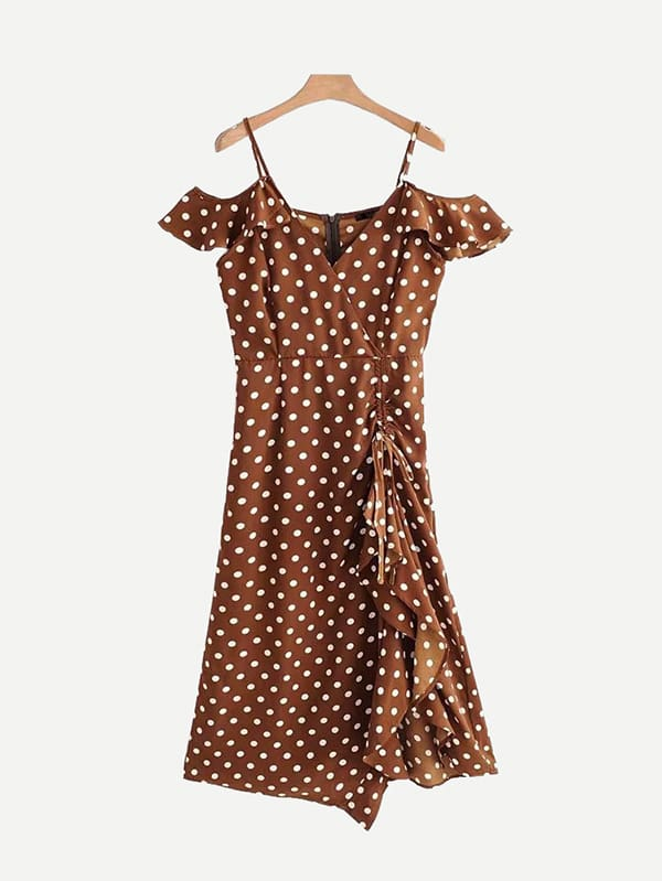 Купить Drawstring Detail Spot Ruffle Dress, null, SheIn