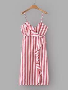Contrast Stripe Ruffle Cami Dress