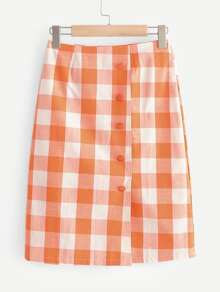 Check Plaid Button Front Skirt
