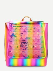 Iridescent Flap PU Backpack