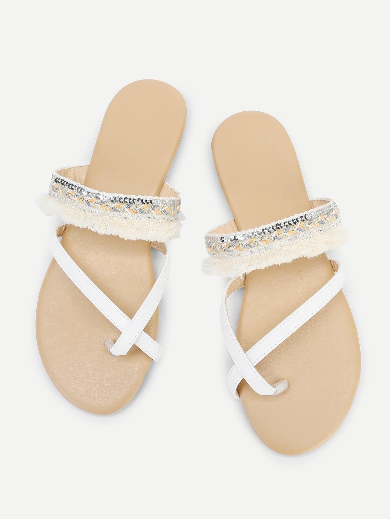 Fringe Tassel Toe Ring Flat Slippers