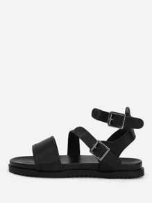 Buckle Side PU Flat Sandals