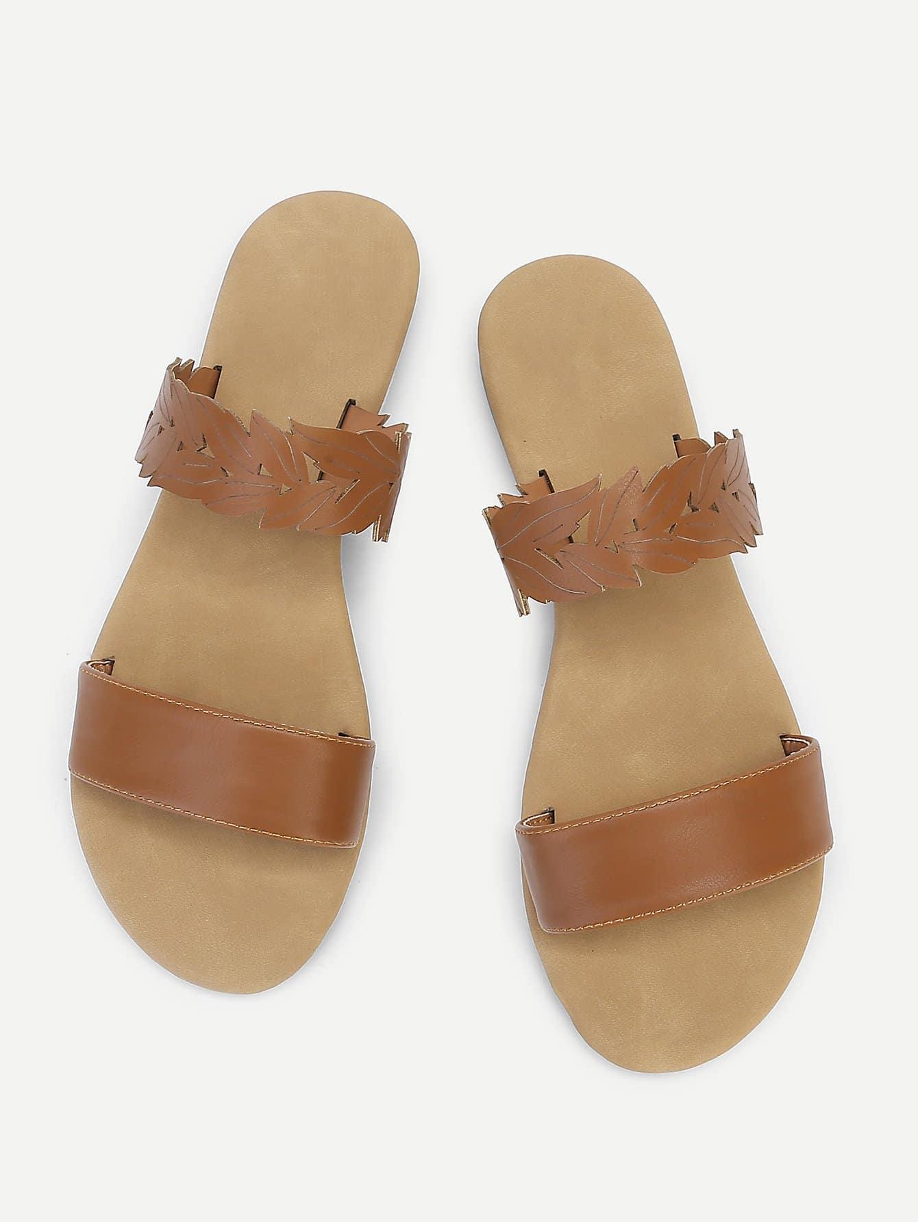Leaf Design PU Flat Sandals цена 2017