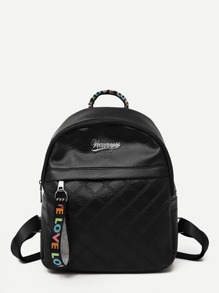 Quilted Detail Slogan Ribbon Backpack