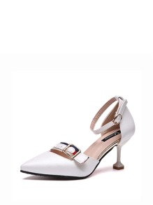 Color Block Buckle Decor Stiletto Heels