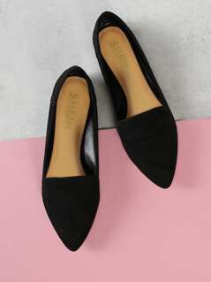 Faux Suede Pointy Toe Flats