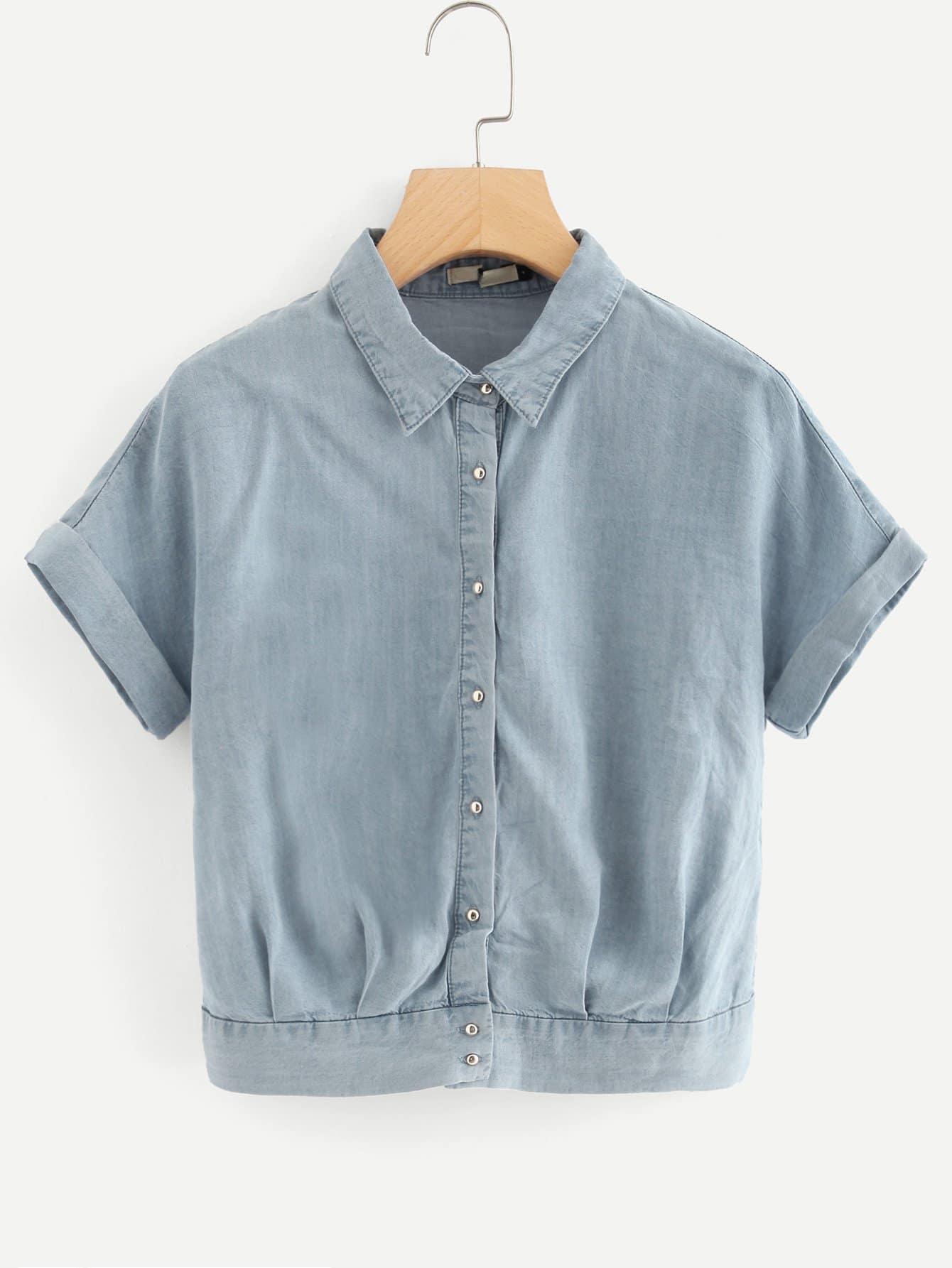 Solid Button Denim Top long sleeve button up denim top denim