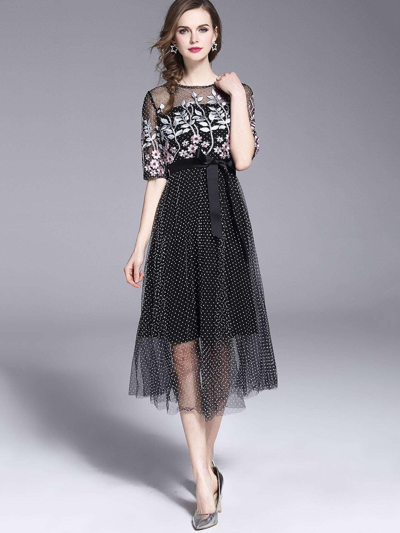 Купить Платье с вышивкой из вышитого платья, null, SheIn