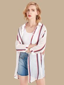 Striped Button Front Longline Kimono