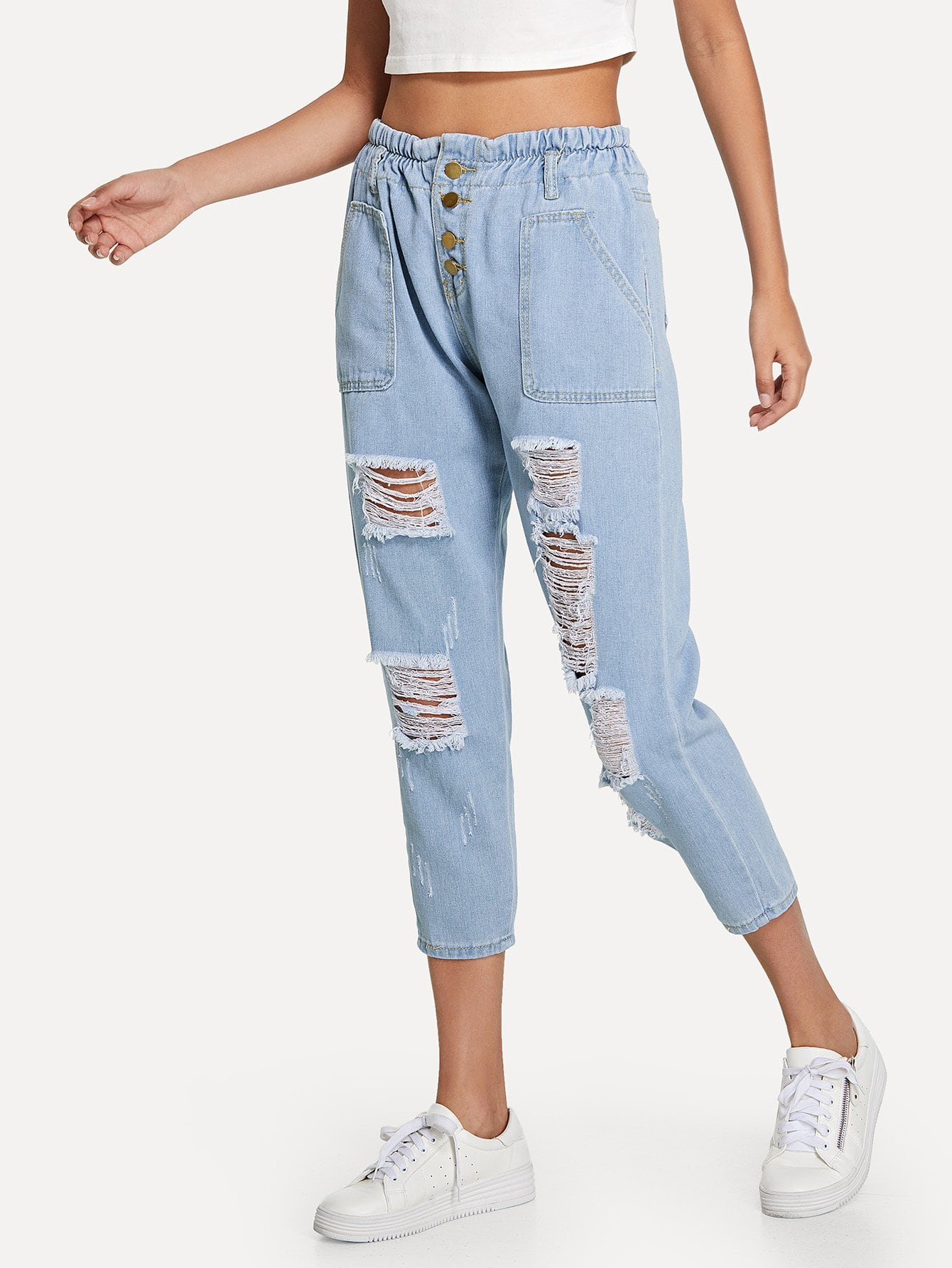 Ripped Pocket Button Jeans
