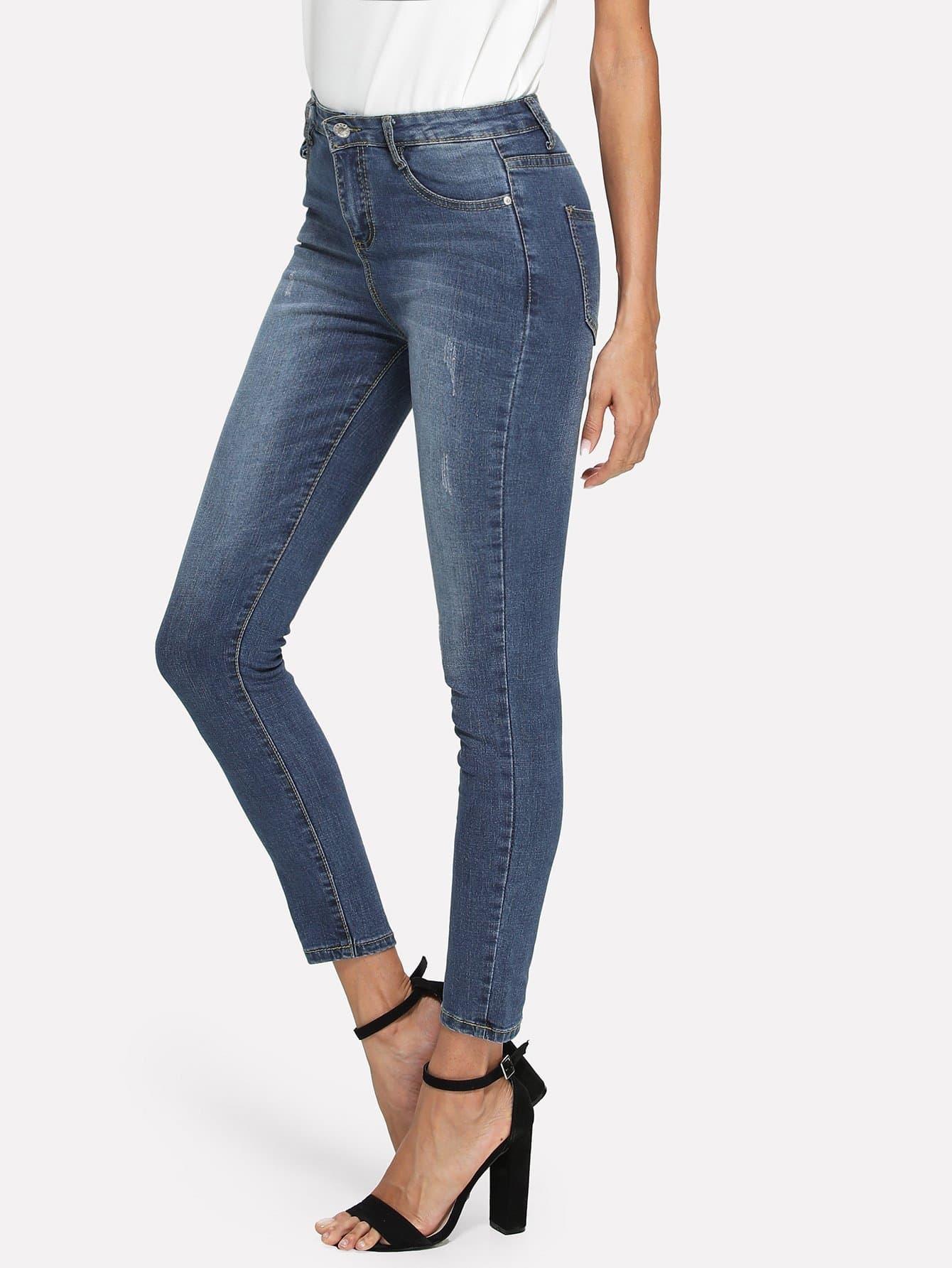 Bleach Wash Skinny Jeans цена 2017