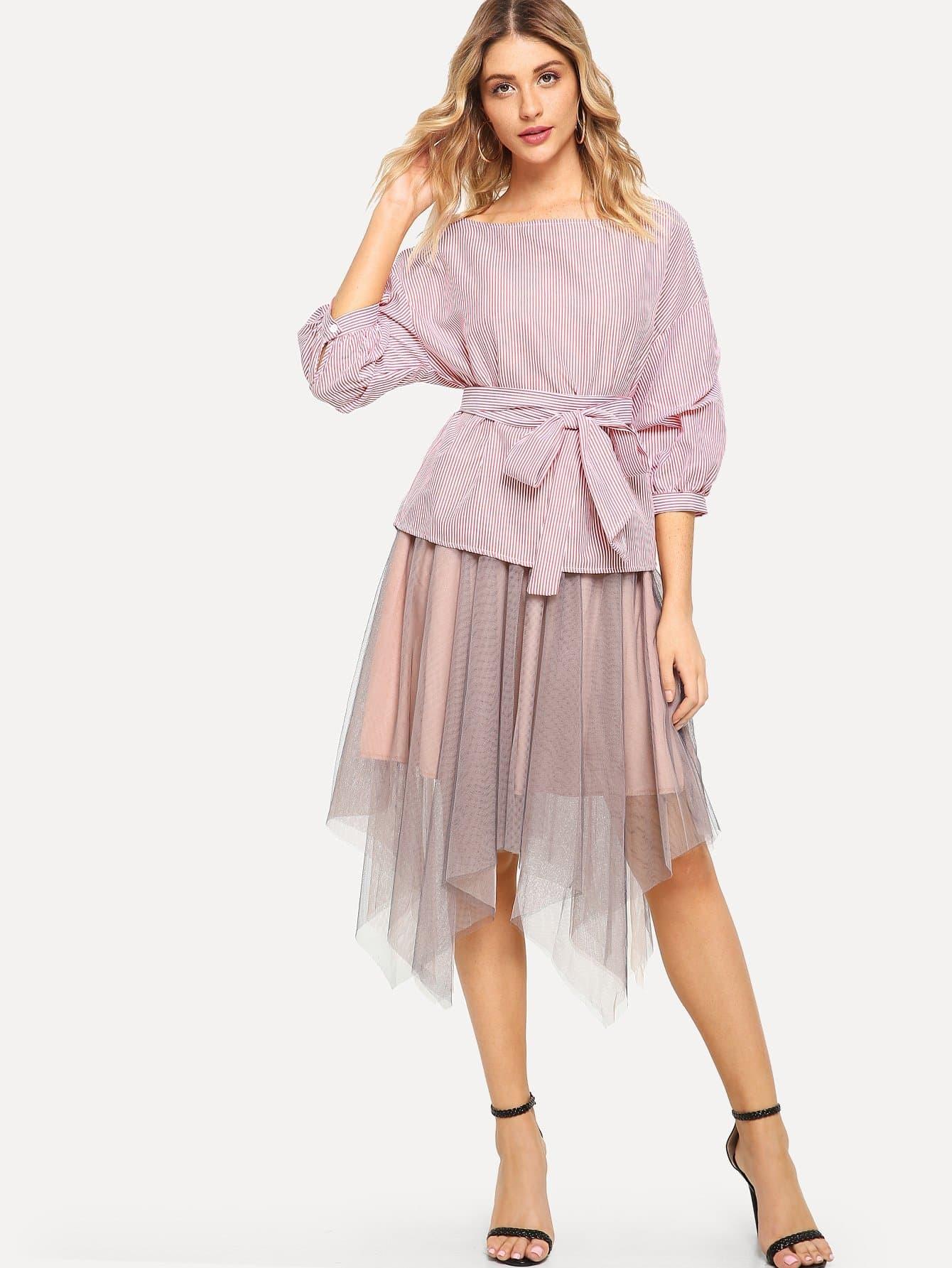 Купить Полосатая талия с талией с асимметричной юбкой, Nathane, SheIn