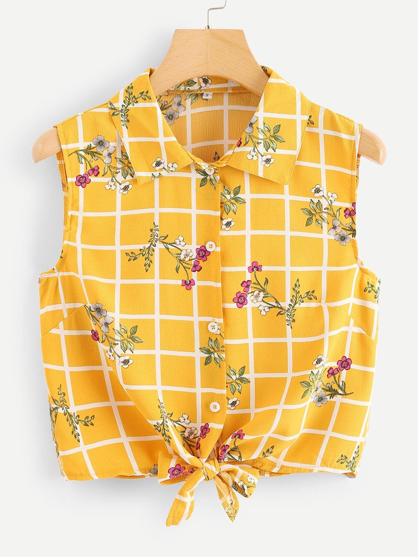 Цветочная и сетчатая печать Knot Hem Shirt